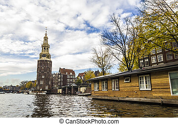 View on a canal in Amsterdam in late autumn