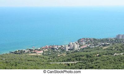 view on a city ashore sea