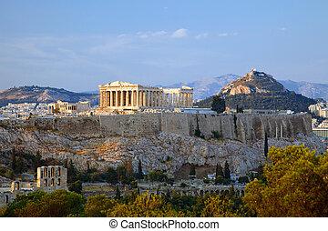 Acropolis - View on Acropolis at sunset, Athens, Greece