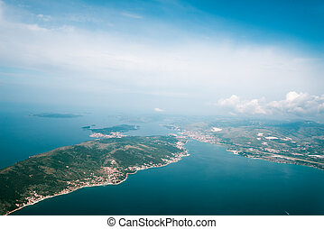 View on Adriatic from plane. Traveling, holiday, vacation concept.