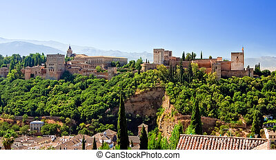Alhambra at sunny day, Granada, Spain - View on Alhambra at...