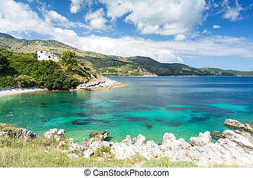view on amazing Ionian sea from Corfu island, Greece