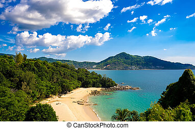 View on an idyllic exotic coast on a sunny day in Thailand