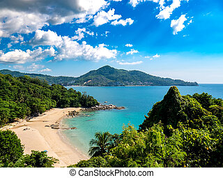 View on an idyllic tropical coast on a sunny day in Thailand