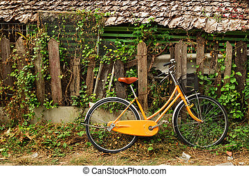 View on an orange bicycle near to wooden house and old broken wooden fence with curly plant. Chiang Mai, Thailand.