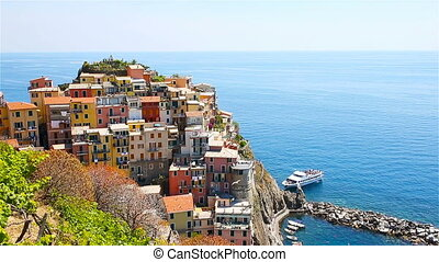 View on architecture of Manarola village. Beautiful city is one of the most popular old village in Cinque Terre. SLOW MOTION