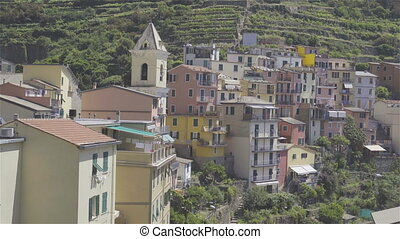 View on architecture of old italian village. Manarola is one of the most popular old village in Cinque Terre, taly