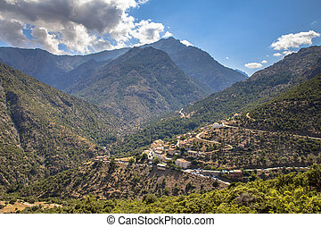 Asco river gorge - View on Asco village in Asco river gorge ...