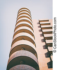 View on balconies of block of flats