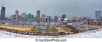 View on Baltimore skyline and Inner Harbor from Federal Hill