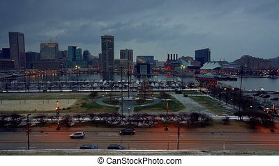 View on Baltimore skyline and Inner Harbor from Federal Hill...
