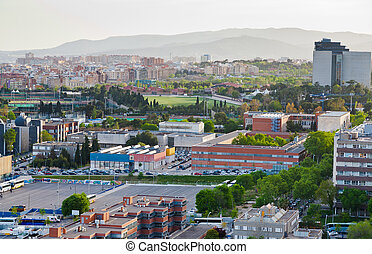 view on Barcelona and fields of football stadium in...