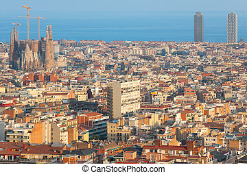 Barcelona at sunset time