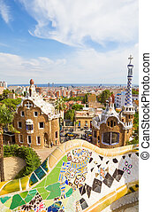 View on Barcelona from the Park Guell main terrace, Spain.