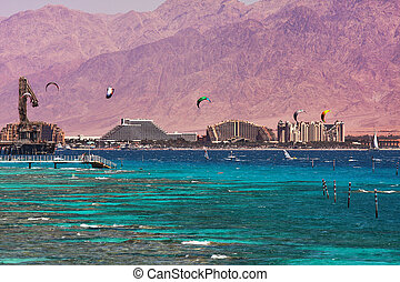 View on bay and coastline in Eilat, Israel. - View on...