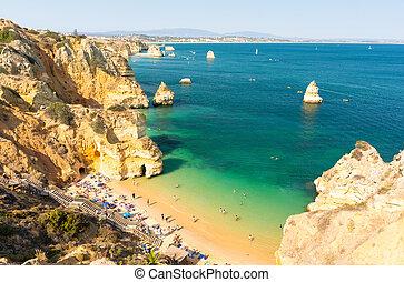 view on beach Praia do Camilo in Lagos, Algarve, Portugal