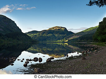 View on beautiful Loch Katrine, Scotland - View on beautiful...