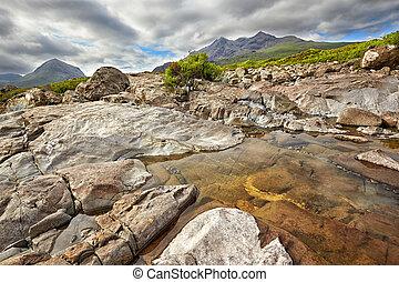 view on Sgurr nan Gillean, Am Basteir and Sgurr a Bhasteir from Sligachan River, Isle of Skye, Scotland