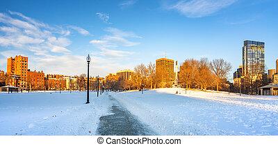 Boston common at winter