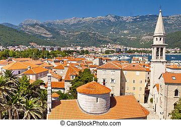 View on Budva old town from the Citadel.