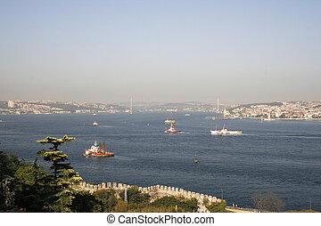 View on busy Bosporus in Istanbul