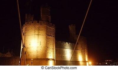 View on Caernarfon Castle at night - View on Caernarfon...