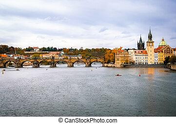 View on Charles Bridge and Vltava river in Prague, Czech Republic