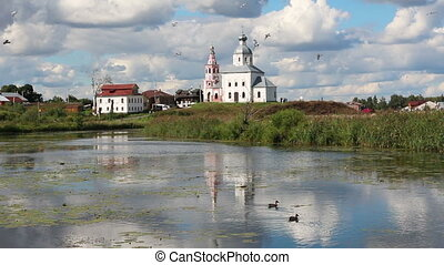 view on churches in Suzdal Russia