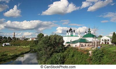 view on  churches in Suzdal Russia - timelapse