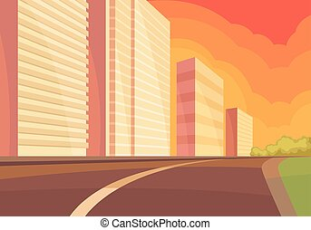 View on city street at sunset with road, high-rise building and green bushes. Urban landscape. Flat vector design