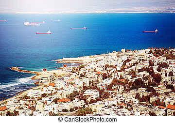 View on Coast of Haifa, Israel from Mount Carmel. Image...