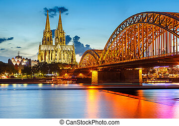 Cologne Cathedral and Hohenzollern Bridge, Germany - View on...
