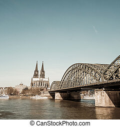 View on Cologne Cathedral and river Rhine