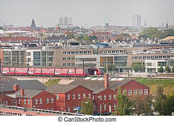 view on Copenhagen in autumn day