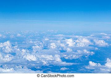 View on Dolomites mountain range from airplane
