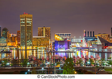Baltimore at night - View on downtown of Baltimore at night