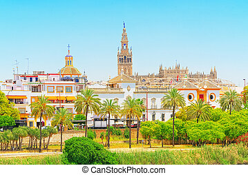 View on downtown of Seville and Guadalquivir River Promenade...