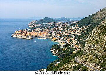 View on Dubrovnik from hills, Croatia