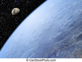 Earth and Moon - View on Earth and Moon from space