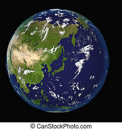 View on Earth centered on Japan elements of this 3d image furnished by NASA