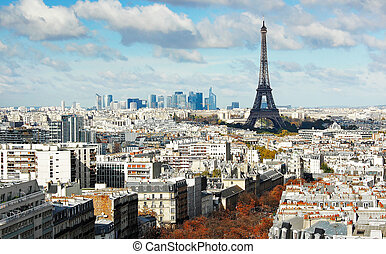 View on Eiffel Tower and panorama of Paris