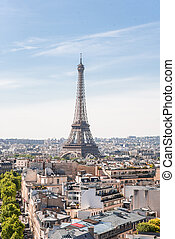View on Eiffel Tower from Arc de Triomphe in Paris. France.
