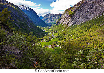 view on Eikesdalen valley from Aursjovegen road, Norway