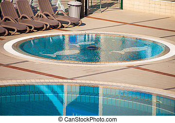 view on empty swimming pool