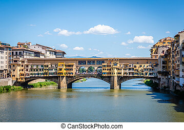 View on famous Ponte Vecchio in ancient italian town Florence