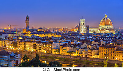 View on Florence at night, Italy