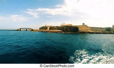 View on Fort Saint Elmo and St. Elmo Breakwater from gulf,...