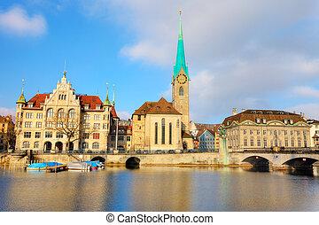 View on Fraumuenster Cathedral in Zurich