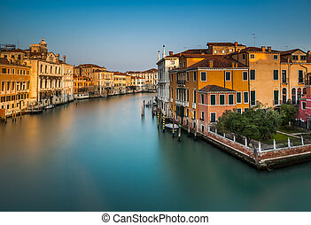 View on Grand Canal from Accademia Bridge at Sunrise, Venice...