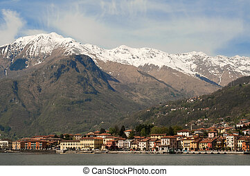 View on Gravedona with Alps in background, Lake Como, Italy, Europe